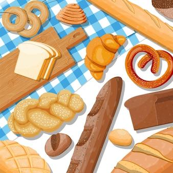 Brotsymbole auf tisch gesetzt. vollkorn-, weizen- und roggenbrot, toast, brezel, ciabatta, croissant, bagel, französisches baguette, zimtbrötchen.