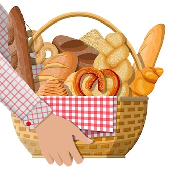 Brotsymbole und weidenkorb in der hand.