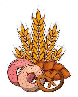 Brotweizenspitzenkrapfen und brezel