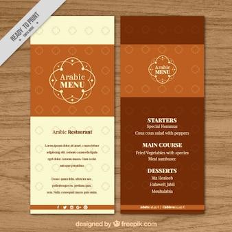 Brown arabisches menü-vorlage