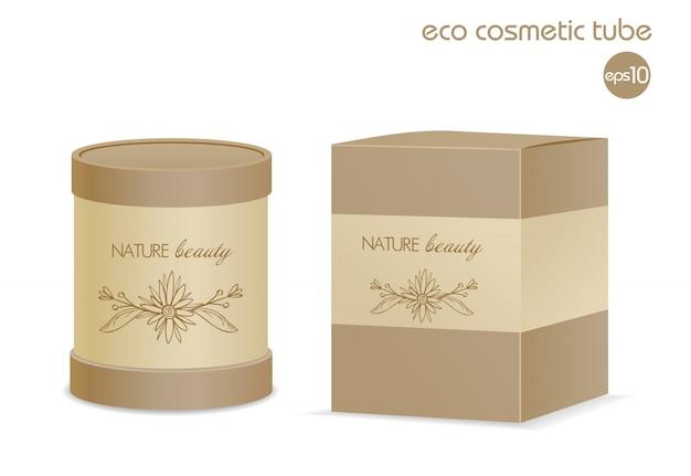 Brown eco kosmetisches behälter- und papierpaket