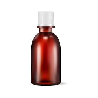 Brown-glasmedizinisches flaschenglas lokalisiert auf weiß