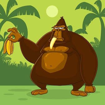 Brown gorilla cartoon character hält eine banane. illustration mit dschungelhintergrund