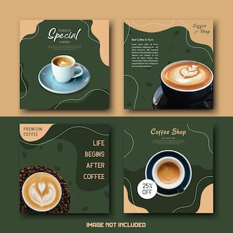 Brown green coffee shop getränk social media template post set bundle