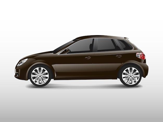 Brown-hatchbackauto lokalisiert auf weißem vektor