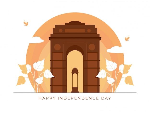 Brown india gate canopy mit blättern und fliegenden vögeln auf pfirsichkreisform für glückliches unabhängigkeitstag-konzept.