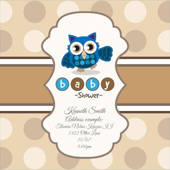 Brown-karte für babyparty mit einer niedlichen eule