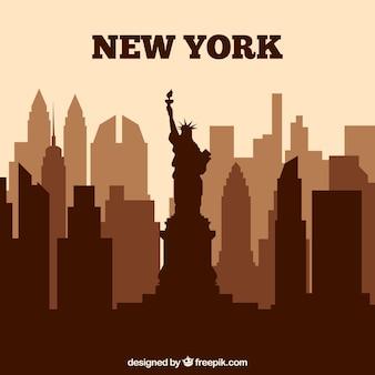 Brown new york skyline