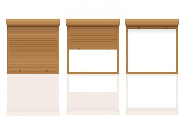 Brown-rollenfensterladen-vektorillustration