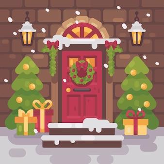 Brown verzierte weihnachtsportal