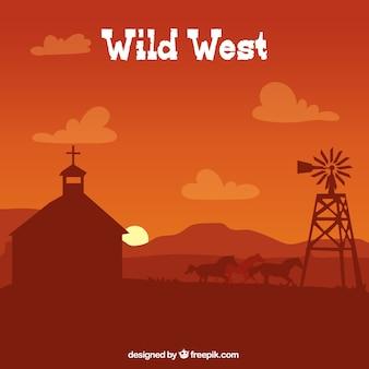 Brown westlichen hintergrund mit kapelle und pferde