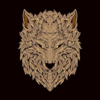 Brown wolf illustration