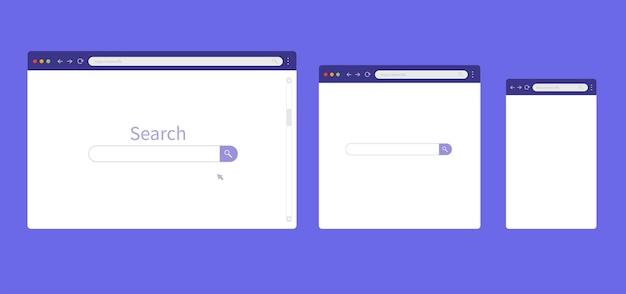 Browser-mockup für computer, tablet und smartphone