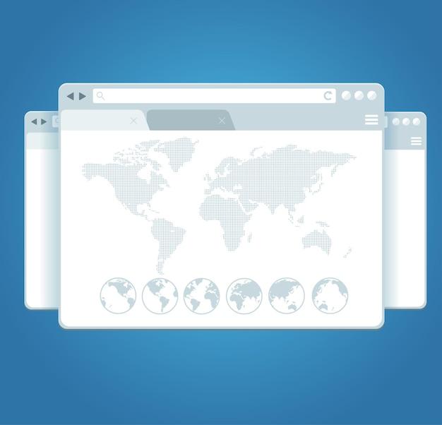 Browser windows und weltkarte. konzept der globalisierung.