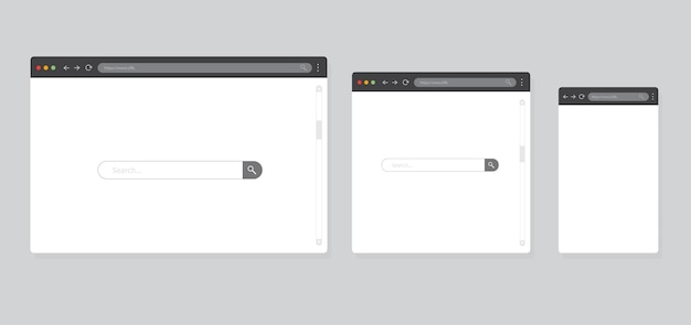 Browserfenster auf grauem hintergrund isoliert browsermodell für computer, tablet und smartphone