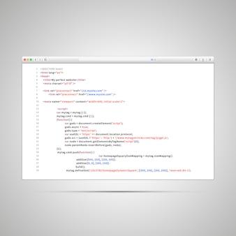 Browserfenster mit einfachem html-code der webseite