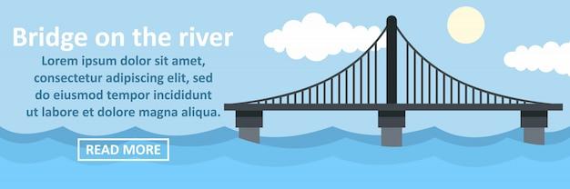 Brücke auf dem horizontalen konzept der flussfahne