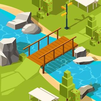 Brücke im park. schöner ort des wasserflusses mit brücke im graspark für das gehen isometrisch