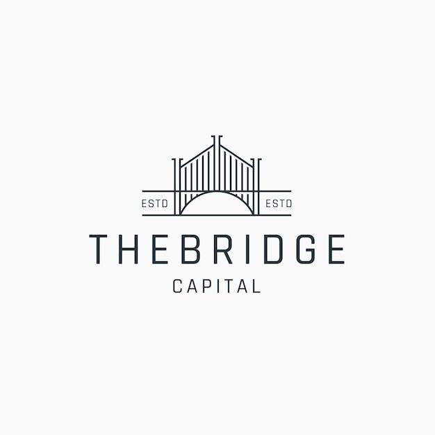 Brücke linie kunst logo symbol design vorlage flacher vektor