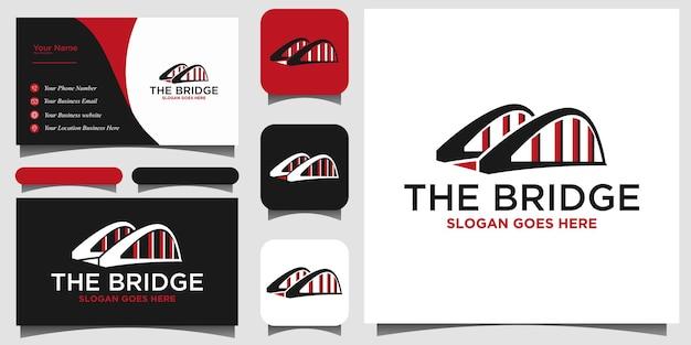 Brücken-logo-design-vektor mit schablonenhintergrund-visitenkarte