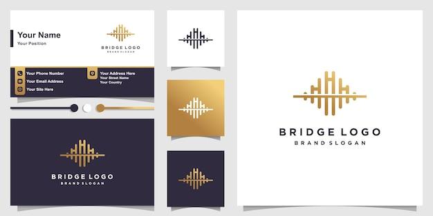 Brückenlogo mit kreativem goldenem konzept und visitenkartendesign premium-vektor