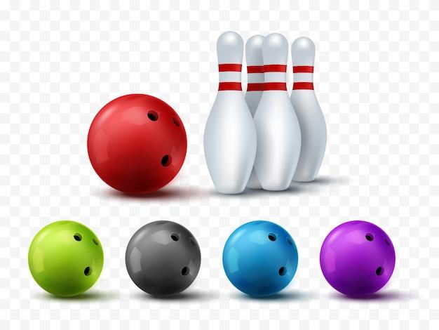 Brüllende schablone isoliert. bowlingkugel und kegelspiel