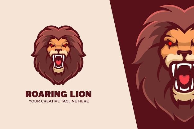 Brüllender löwe maskottchen charakter logo vorlage
