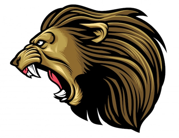 Brüllender löwenkopf
