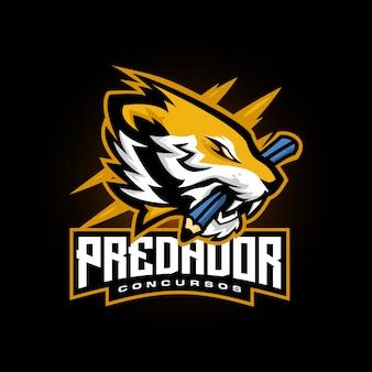 Brüllender tiger esports logospielmaskottchen