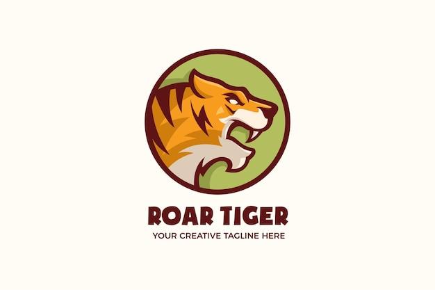 Brüllender tiger wildtier-maskottchen-zeichen-logo-vorlage