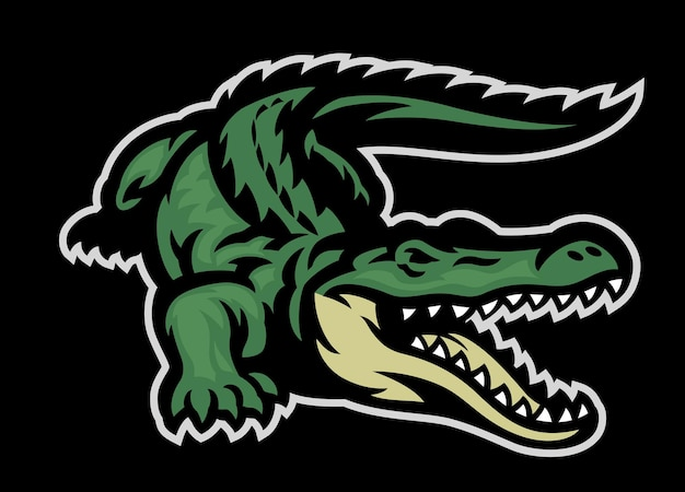 Brüllendes maskottchen des grünen krokodils