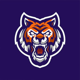 Brüllendes tiger-maskottchen-logo