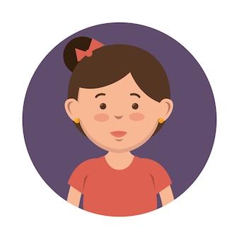 Brünette mädchen mit hairbun-symbol