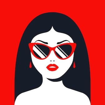 Brünette mädchen mit sonnenbrille und rotem lippenstift. flache charakterillustration.