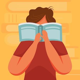 Brünette person, die buch flache illustration liest. prüfungsvorbereitung. junior learning publikation. student, der enzyklopädie-zeichentrickfigur auf orangefarbenem hintergrund studiert