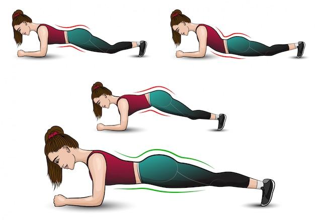 Brünettes mädchen im trainingsanzug trainiert, steht in der plankenposition