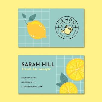 Brunch doppelseitige horizontale visitenkarte
