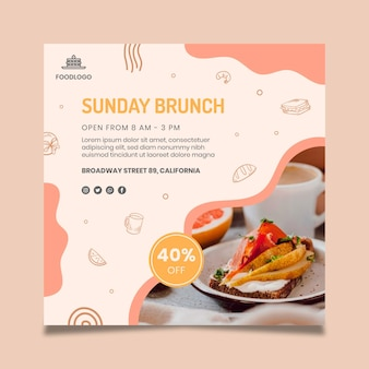 Brunch quadratische flyer vorlage design