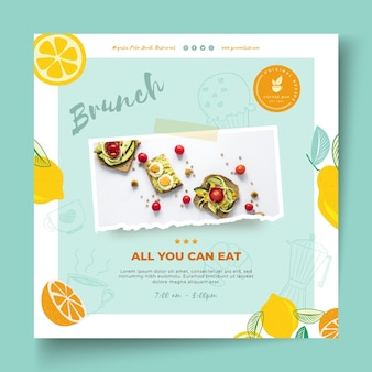 Brunch restaurant square flyer