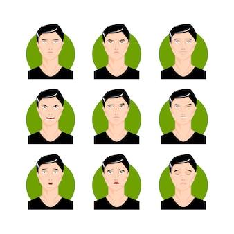 Brunettemann-illustrationssatz. schwarzhaariger junger mann, junge im cartoon-stil, gesichter, porträts mit unterschiedlichen gesichtsausdrücken und emotionen. charakter-vektor-illustration.