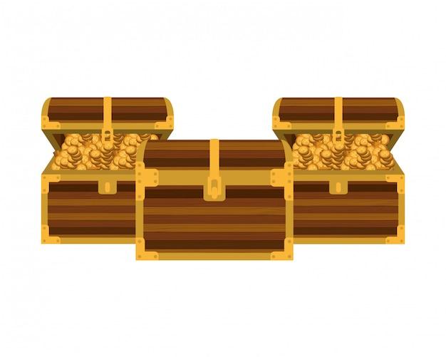 Brust mit münzen isoliert symbol