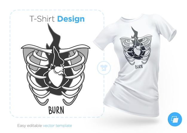 Brustknochen mit einem lebendigen herz-t-shirt-design druck für kleidungsposter oder souvenirs
