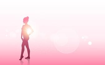 Brustkrebs-Bewusstseins-Konzept-weibliches Körper-Schattenbild