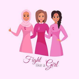 Brustkrebs-bewusstseins-monatskarte. lachende frauen, die rosa umarmen und tragen