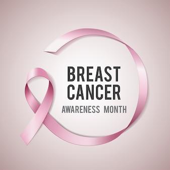 Brustkrebs-bewusstseinskonzept mit text und realistischem rosa band. illustration