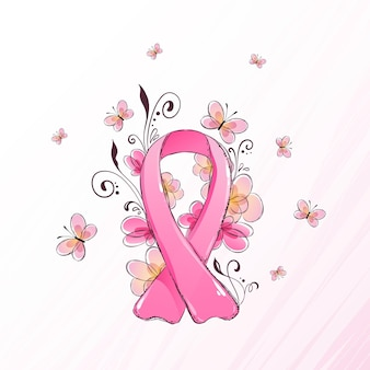 Brustkrebs-bewusstseinsmonatsband illustriert mit blumen und schmetterlingen