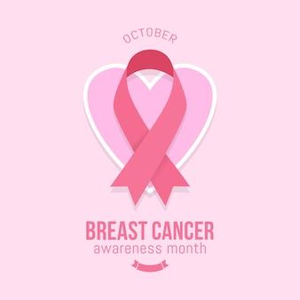 Brustkrebs-bewusstseinsmonatsfahnenentwurf mit rosa band
