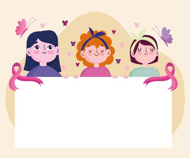 Brustkrebs-karikaturfrauen halten banner mit band- und schmetterlingsillustration