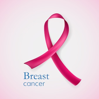 Brustkrebs. rosa band von herzen. illustration