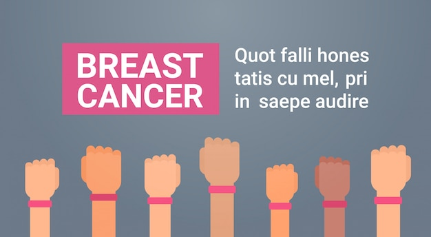 Brustkrebs-tagesgruppe hände mit rosa band-krankheits-bewusstseins-verhinderungs-plakat-gruß-karte
